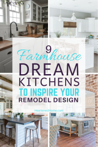 9 Dream Farmhouse Kitchen Designs to Inspire your Remodel - Check out these dreamy farmhouse inspired kitchens for amazing ideas to incorporate into your own kitchen. | https://heartenedhome.com #homedecor #farmhouse #kitchen