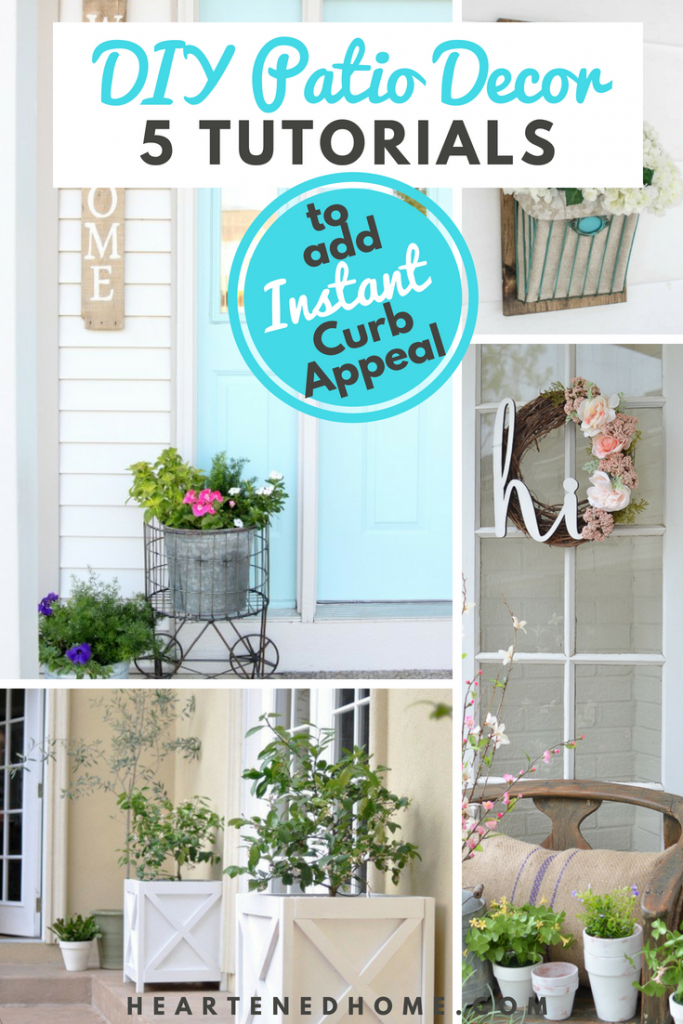 Spice Up Your Curb Appeal with 5 Easy Patio Decor DIYs - Calling all weekend warriors! Here are 5 easy projects you can get done in just a weekend and boost your curb appeal for an inviting and personalized front porch! | https://heartenedhome.com #curbappeal #patiodesign #diypatiodecor #frontporch