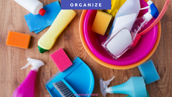 Cleaning Supply Storage & Organization Inspiration for 5 Areas you can use - Get inspiration for places and ways to organize and store your cleaning supplies, be it under the kitchen sink, in a closet, or even in the laundry room. | https://heartenedhome.com #organization #cleaningsupplies #supplystorage