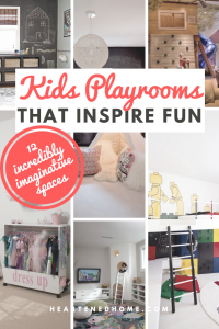Kids Playrooms That Inspire Fun - Check out these 12 kids playrooms full of creativity and imagination. | https://heartenedhome.com #kidsspaces #playroomideas