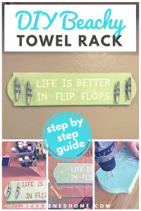 Rustic Coastal Towel Rack DIY - Life is Better in Flip Flops - a DIY guide to creating this boho Coastal themed wood and cleat towel or coast rack for your home. | Heartenedhome.com #afflink #DIY #Coastaldecor