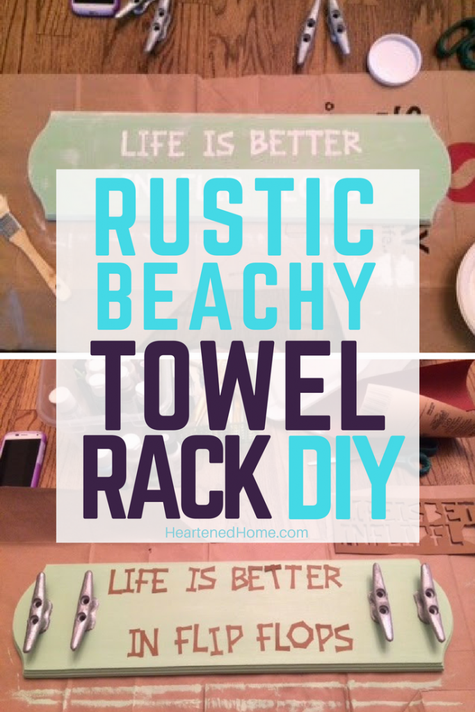 Rustic Coastal Towel Rack DIY - Life is Better in Flip Flops - a DIY guide to creating this boho Coastal themed wood and cleat towel or coast rack for your home. | Heartenedhome.com