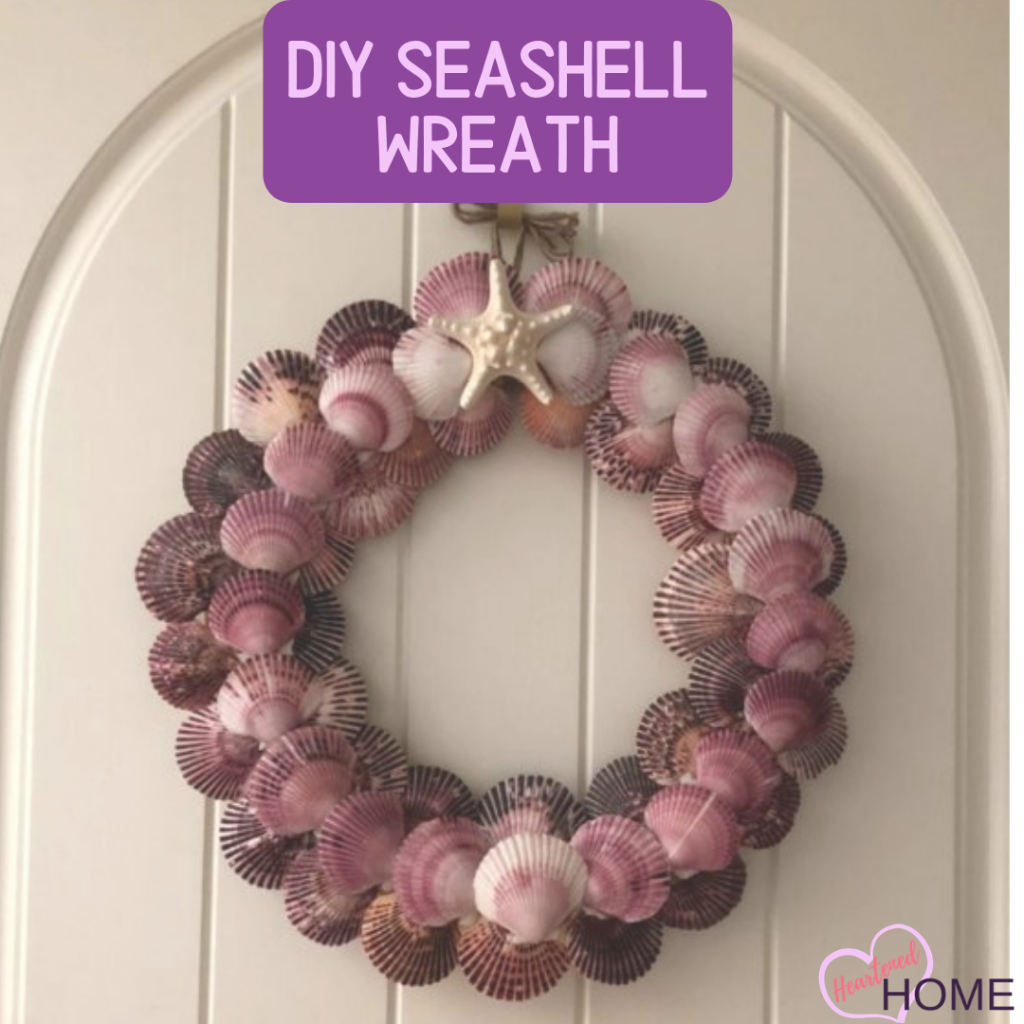 DIY Fall Seashell Wreath - Add some coastal flair to your fall styling this year with this easy DIY. | Heartenedhome.com #coastal #fall #seashellwreath