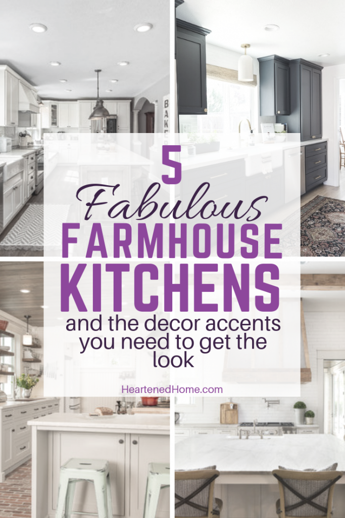 5 Fabulous Farmhouse Kitchens and the decor accents you need to get the look - Check out these amazing farmhouse kitchens and recommended accents to copy the look! | HeartenedHome.com #afflink #kitchendecor #farmhouse