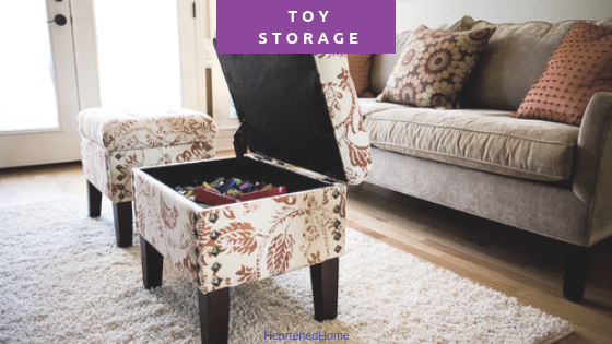 Practical toy storage solutions for living areas - Keep the mess at bay with these crafty storage ideas. | Heartenedhome.com #toystorage #organize