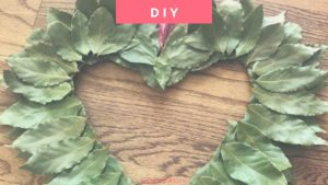 DIY Spring Bay Leaf Wreath - guide to creating a rustic heart green wreath with fresh bay leaves | Heartenedhome.com #springwreath #DIY
