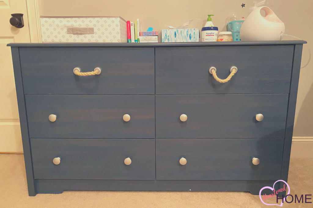 Nautical dresser with rope handles