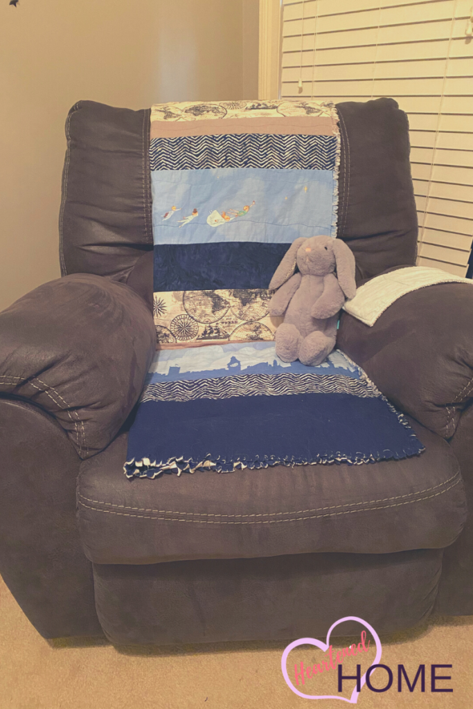 Rocking chair with Peter Pan nautical blanket