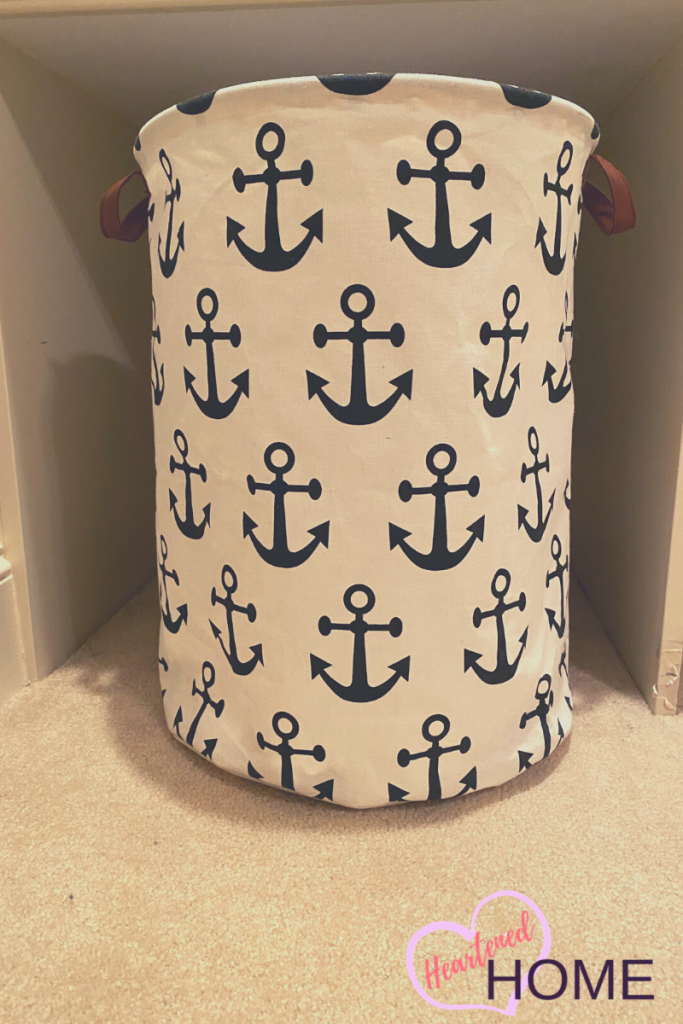 Anchor pattern laundry basket