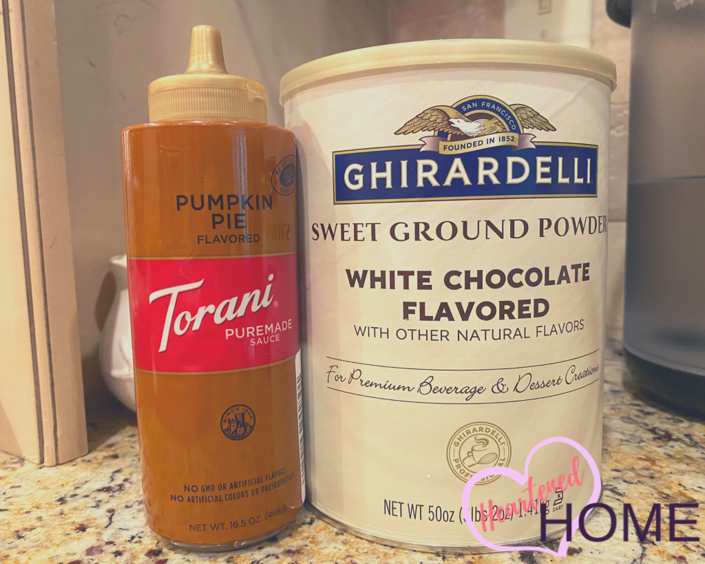 Pumpkin Pie flavored Torani Sauce used to make Pumpkin sliced Lattes, and White Chocolate powder used to make White Mochas