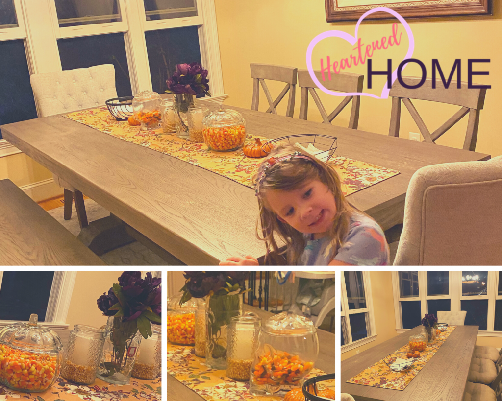 Initial Fall tablescape before the new fall decor is added