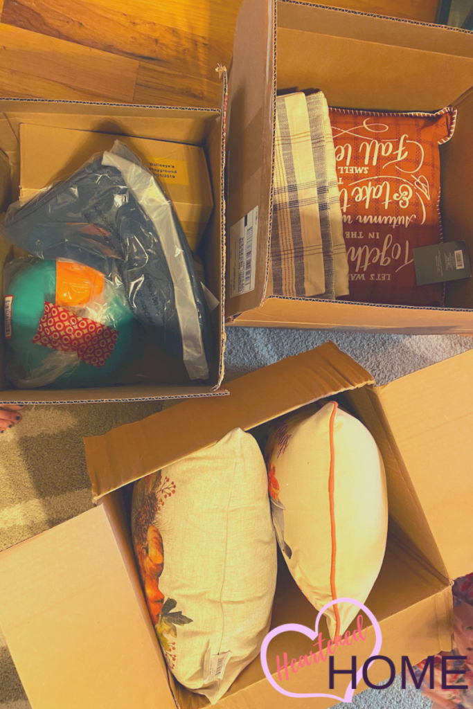 Boxes of shipped fall decor from Target.